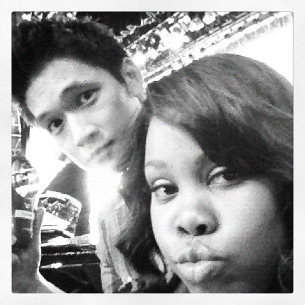 Harry Shum and Amber Riley snapped photos between scenes on the set of Glee. Source: Instagram user harryshum