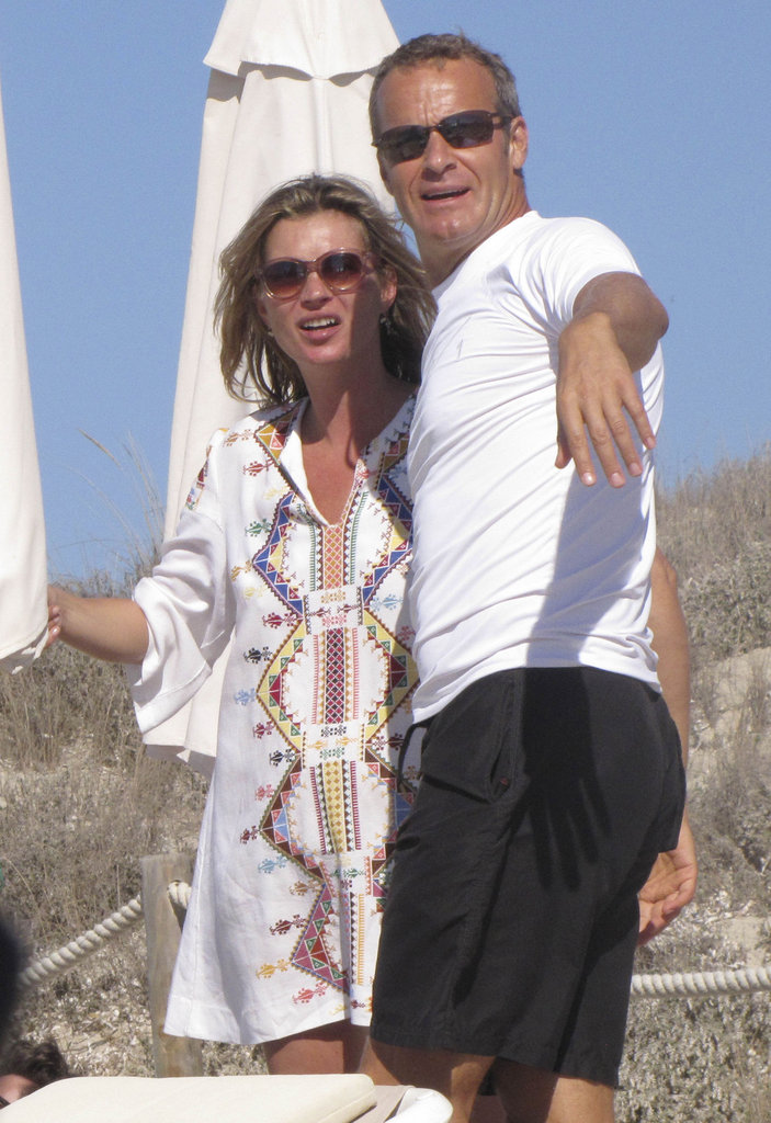Kate Moss met up with Vladislav Doronin on the beach in Ibiza.