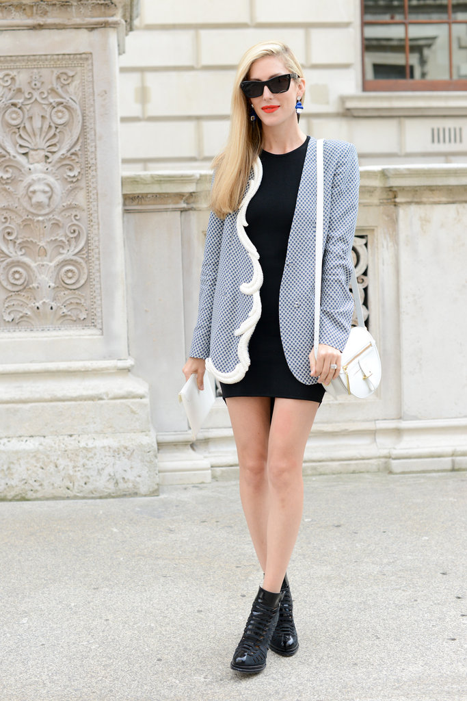 Joanna Hillman topped off her LBD with a Stella McCartney jacket.
