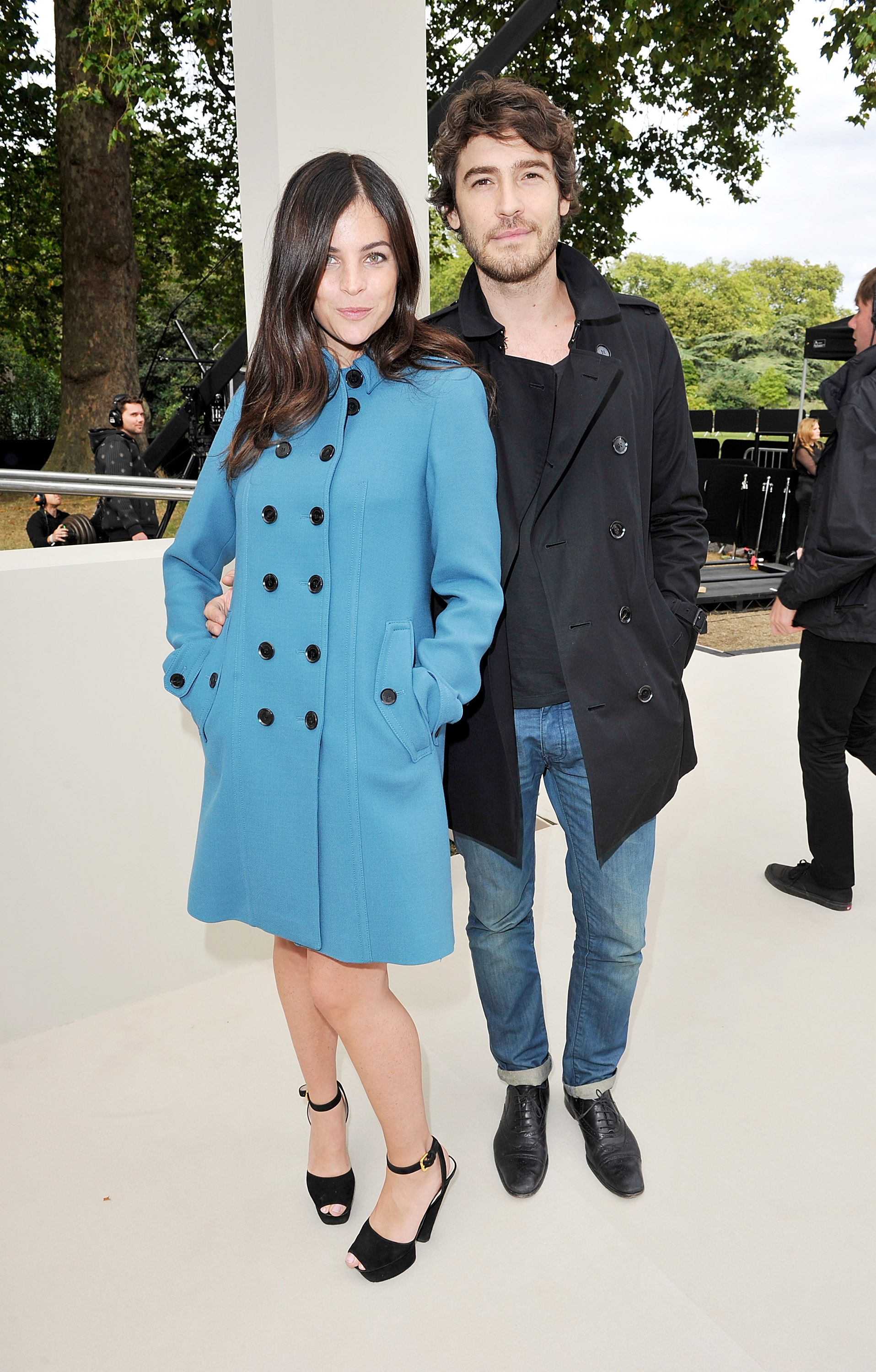 Julia Restoin Roitfeld wore a brightly hued Burberry coat to the label's Spring show in London.