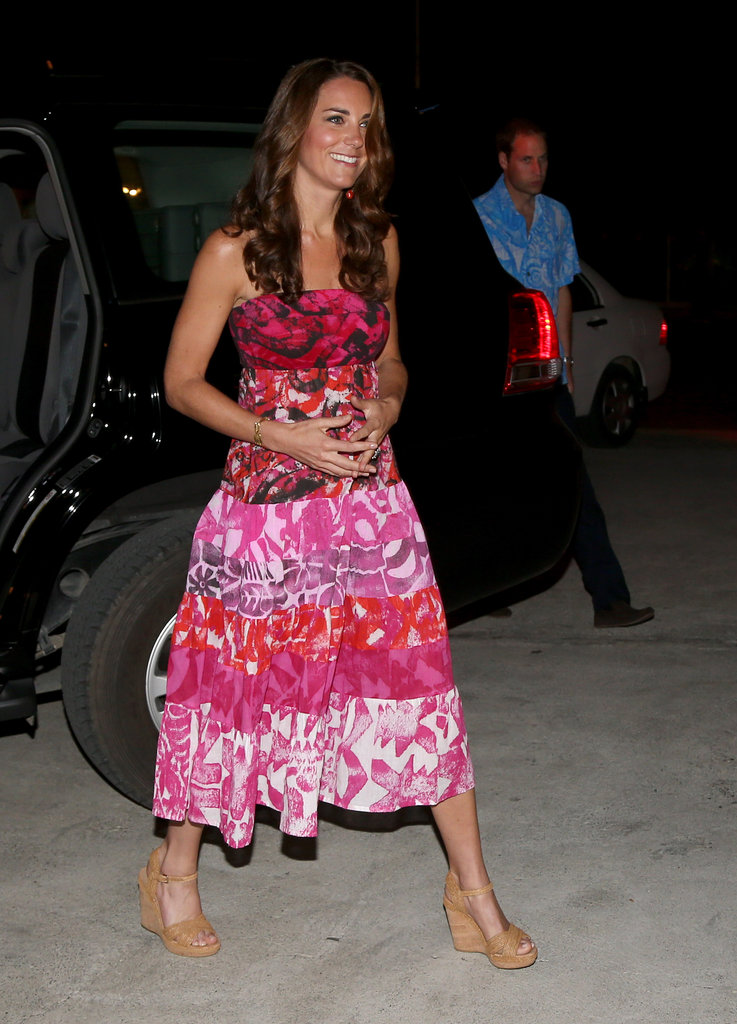 On Sunday Sept. 16, Kate wore a pink batik dress.