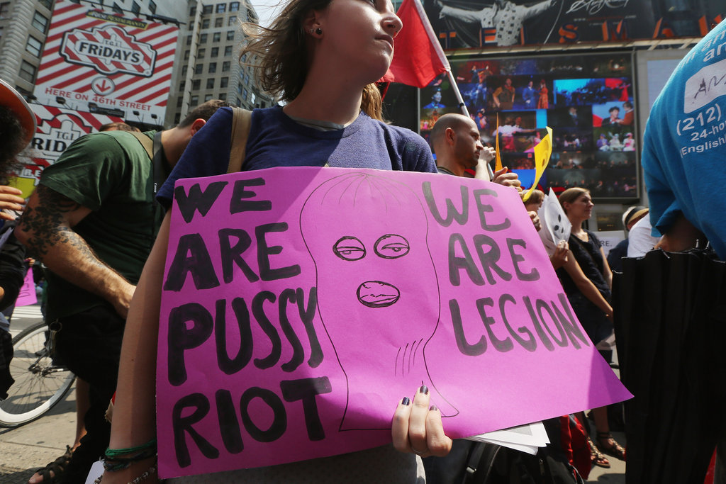 A woman held a sign in support of the Russian punk-rock group Pussy Riot during a rally in NYC.
