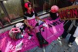 A woman decked out in Code Pink gear took part in the one-year Occupy gathering in New York City.