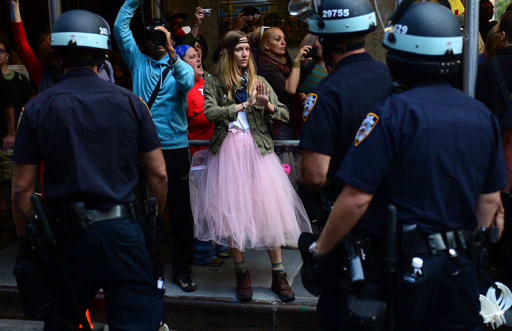 This woman protested in a pink tutu for Occupy's New York gathering.