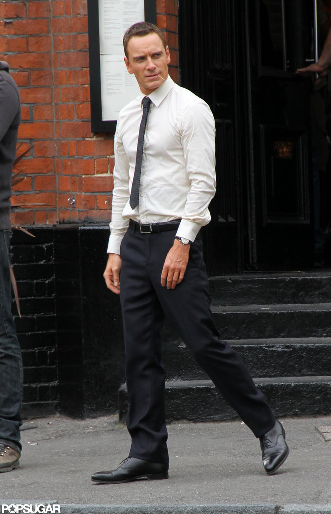 Michael Fassbender arrived on set wearing a tie.
