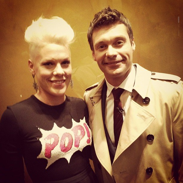 Pink met up with pal Ryan Seacrest in NYC. Source: Instagram user ryanseacrest