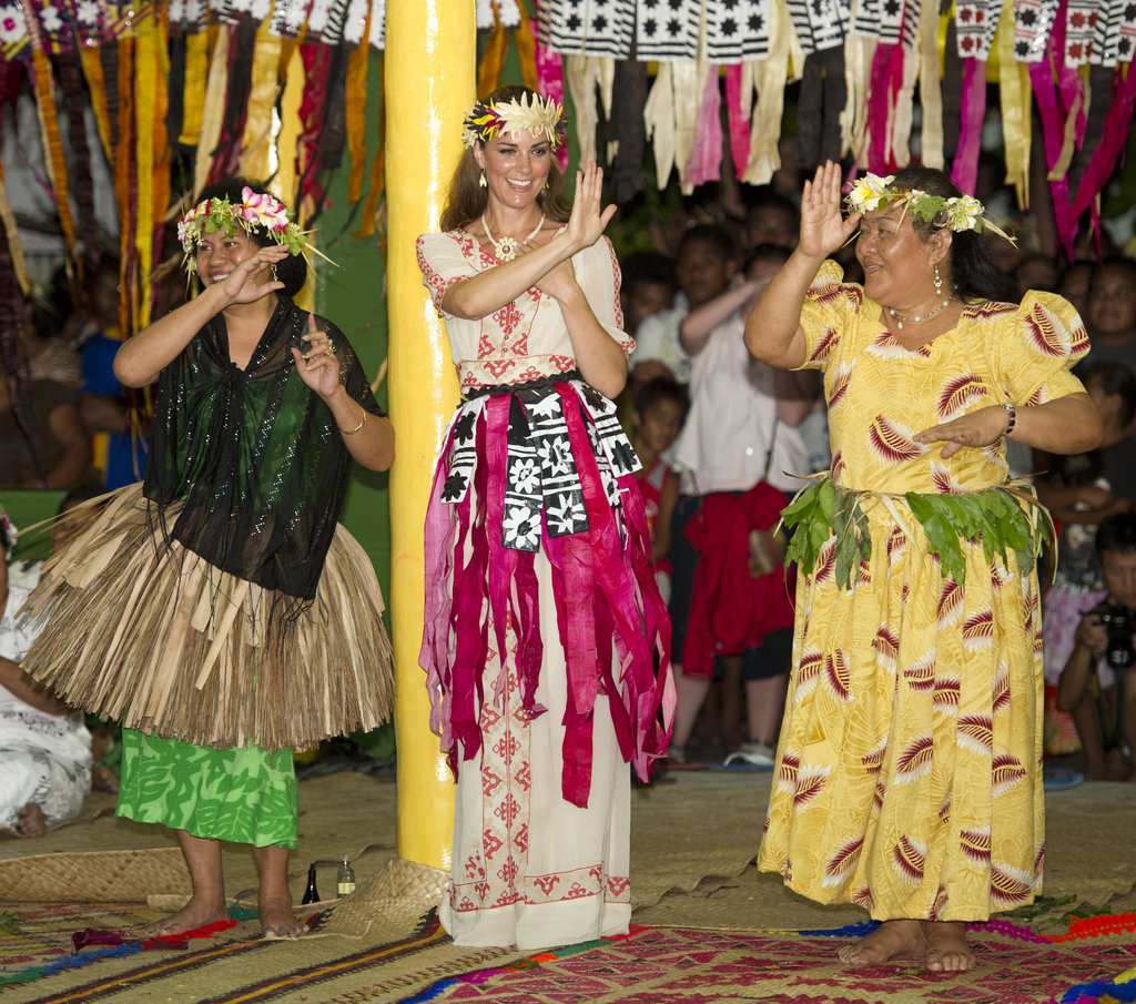 Kate Middleton donned traditional clothing to dance in Tuvalu.