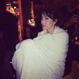Whitney Cummings wrapped herself up in a blanket between scenes.  Source: Instagram user therealwhitney