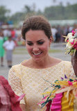 Kate Middleton was greeted upon her arrival in Tuvalu.