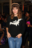 Alexa Chung was front row for Moschino Cheap and Chic.