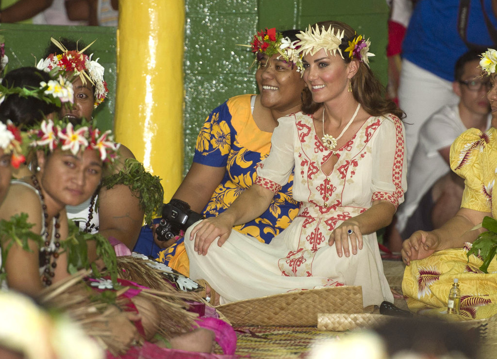 Kate Middleton wore a traditional dress and head piece during her visit to Tuvalu.