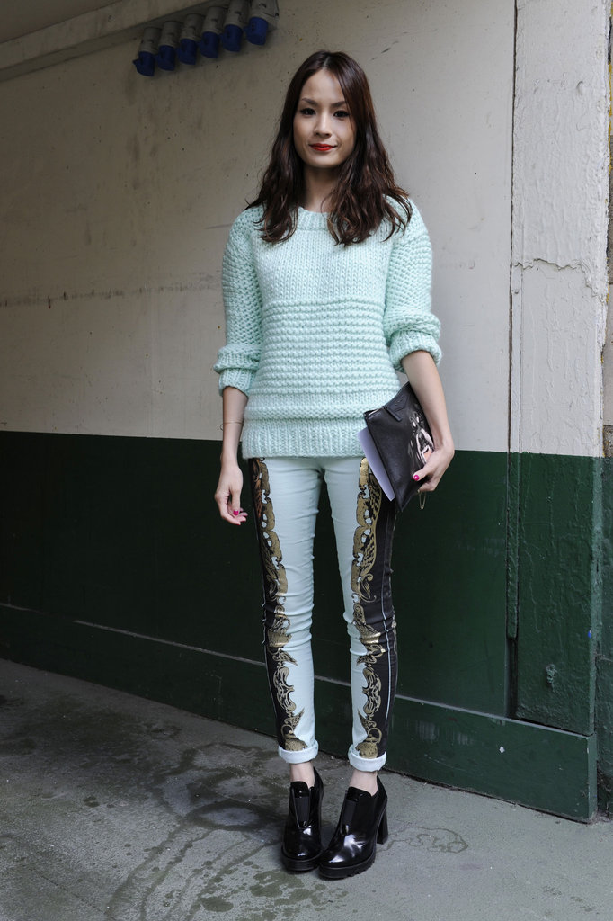 A mint green knit gave statement pants a serene-feeling counterpoint.