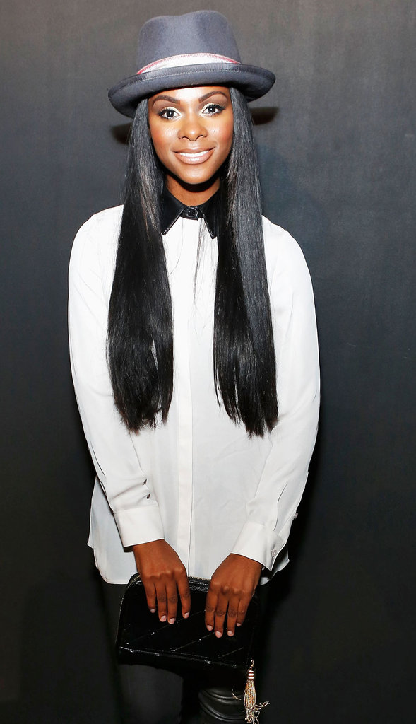 Gossip Girl's Tika Sumpter's leather collar gave a slick edge to an easy white button-down.