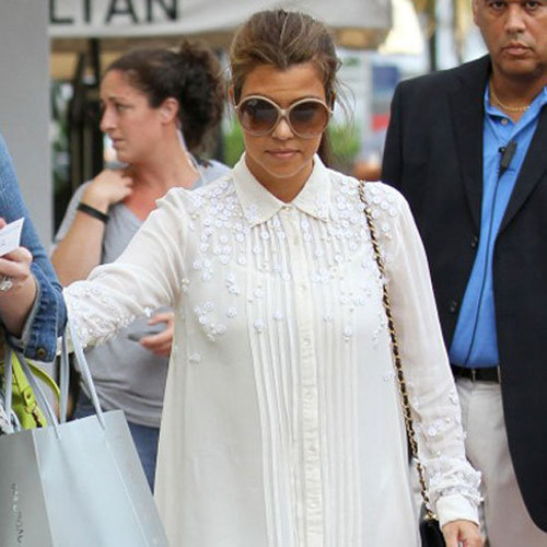 Kourtney Kardashian Wearing White Shirtdress
