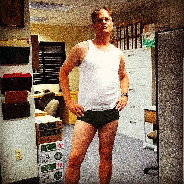 Rainn Wilson found The Office set considerably less chilly than Jenna Fischer. Source: Instagram user rainnwilson