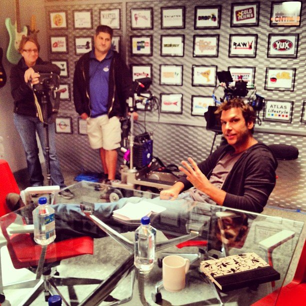 Dane Cook chilled on the set of his new show Next Caller. Source: Instagram user danecook