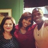 Reno Wilson shared a moment with Melissa McCarthy and guest star Holly Robinson Peete on the set of Mike & Molly. Source: Instagram user r2theeno