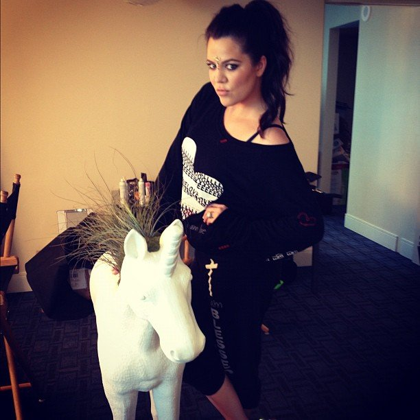 Khloe Kardashian couldn't pass up an opportunity to pose with a unicorn. Source: Instagram user khloekardashian