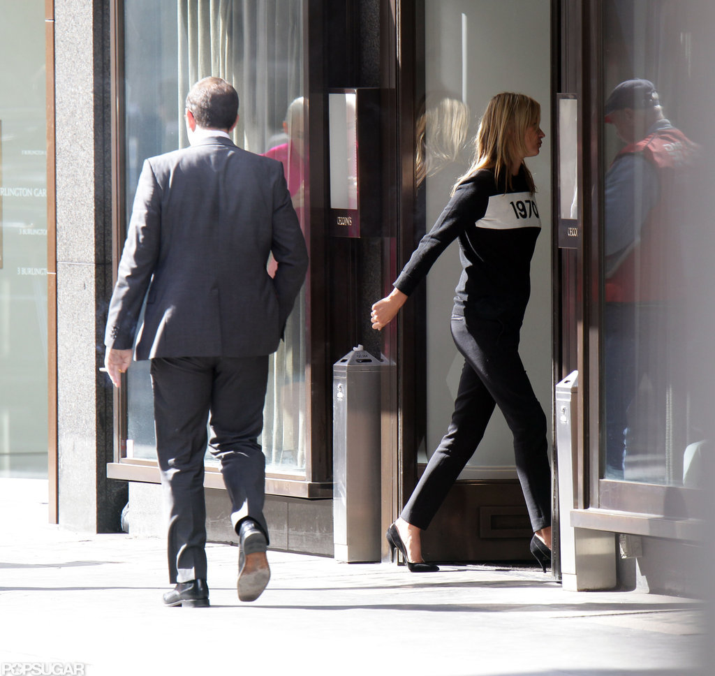Kate Moss walked inside a building in London.