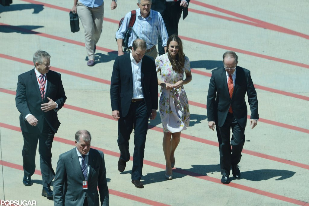 Kate William and Kate Middleton changed planes in Brisbane, Australia to head home.