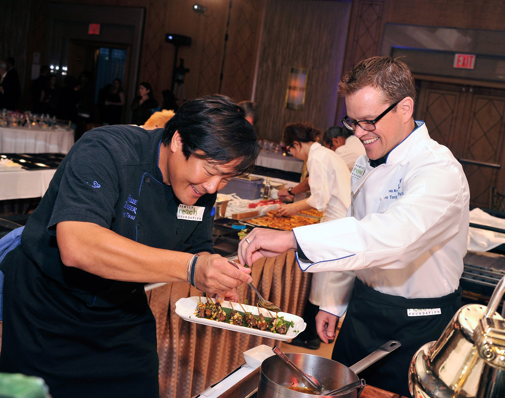 Chef Ming Tsai and actor Matt Damon got to work.