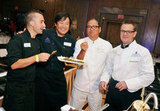 Chef Marc Forgione, chef Ming Tsai, chef Masaharu Morimoto, and Matt Damon sampled their work.