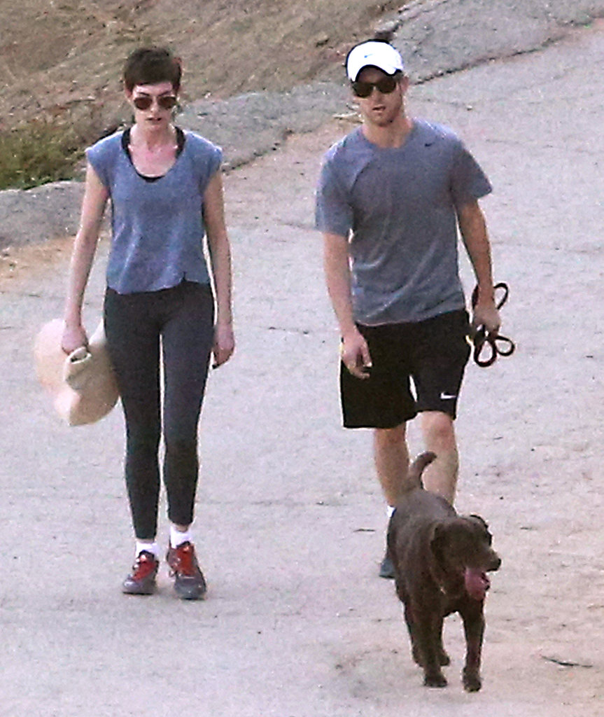 Anne Hathaway and Adam Shulman went on a hike.