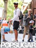 Naomi Watts geared up for a bike ride with Liev Schreiber and her boys, Kai Schreiber and Sasha Schreiber, in NYC.