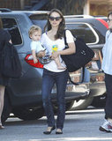 Natalie Portman carried a black bag and baby Aleph Millepied in LA.