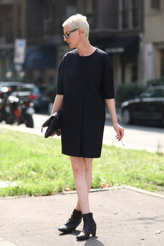 This LBD was reminiscent of a sweet car coat silhouette, easy and utterly chic. Source: Greg Kessler