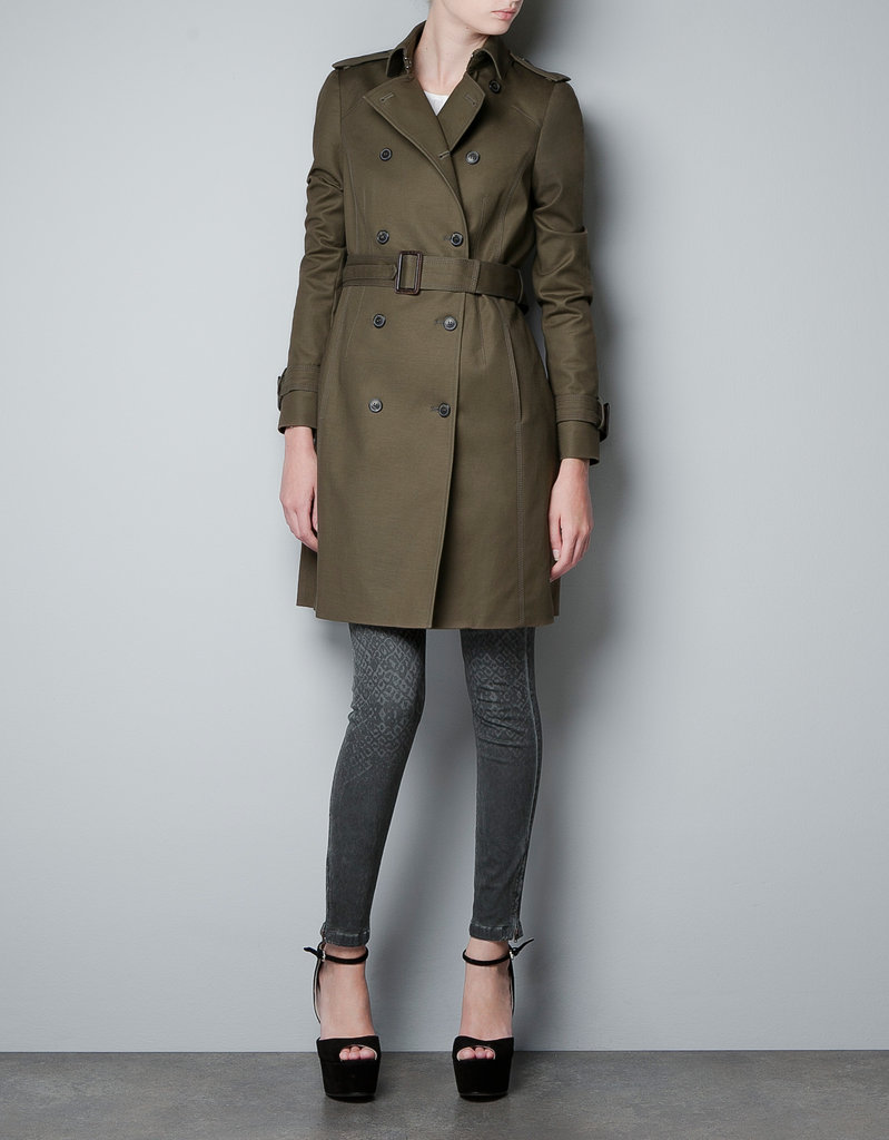 Military green gives this trench coat a more utilitarian touch.  Zara Trench ($100)