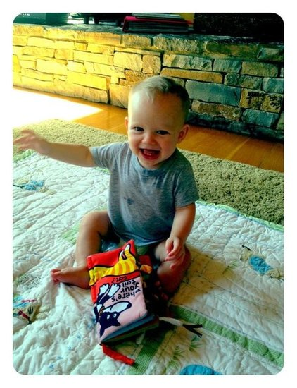 Baby Luca showed off his new teeth — and looked very excited about them! Source: Twitter user HilaryDuff