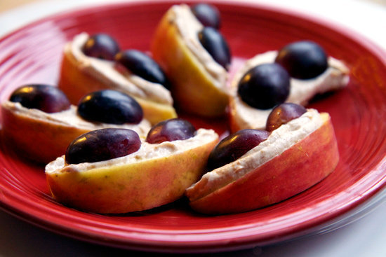 Creamy Peanut Buttery Apples With Grapes