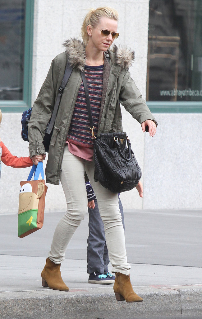 Naomi Watts sported a heavy jacket in NYC.