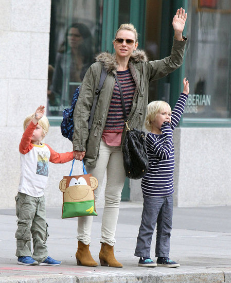 Naomi Watts Breaks Out Her Fall Finest With the Boys