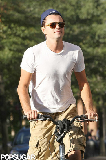 Leonardo DiCaprio rode his bike in NYC.
