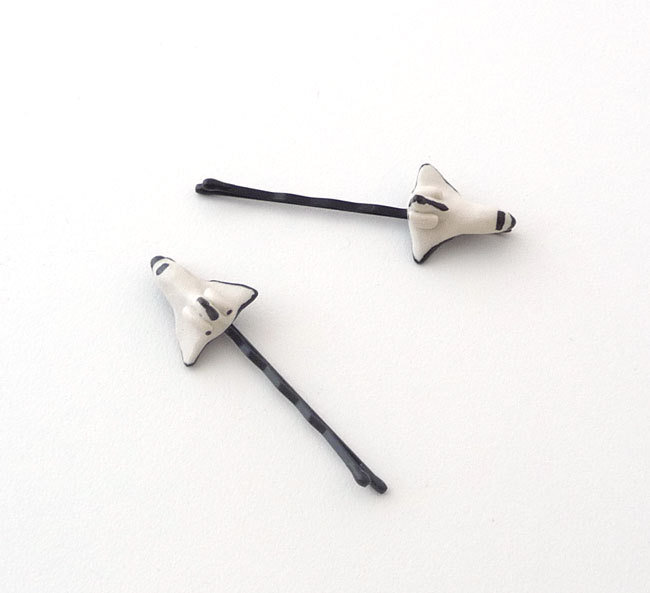These Space Shuttle Bobby Pins ($10) are handcrafted from polymer clay.