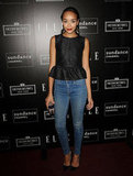 Ashley Madekwe dressed up her skinny jeans with an Elizabeth and James peplum top at an Elle event in West Hollywood.