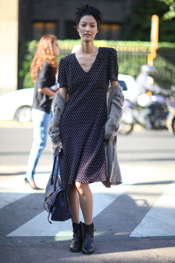 A soft, easy day dress got a tough edge with biker boots. Source: Greg Kessler