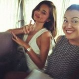 Miranda Kerr flashed a peace sign. Source: Instagram user mirandakerrverified