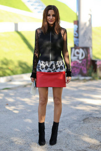 Sheer sleeves and exotic print took Christine Centenera's miniskirt look to next-level street-chic.
