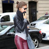 Irina Shayk Wearing Red Leather Pants
