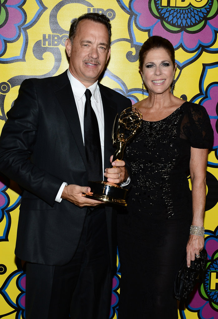 Tom Hanks held up the Emmy for Game Change alongside his wife, Rita Wilson.