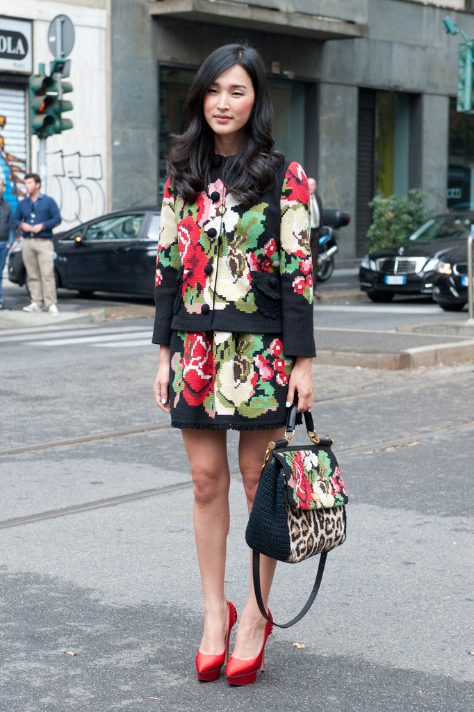 You want floral embroidery, you got it. This stylish lady maxed out on Dolce & Gabbana's take on the trend, wearing it even on her bag.