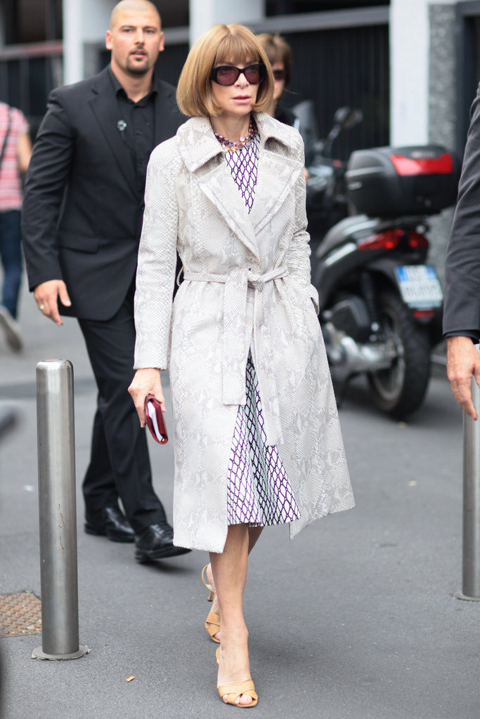 Anna Wintour knows how to work a snakeskin print into her classic wardrobe seamlessly. That trench is the perfect subtle accent. Source: Greg Kessler
