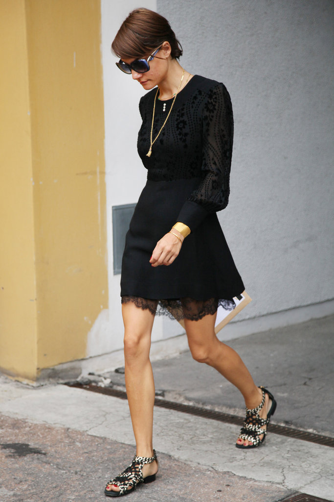 Instead of going the sexy route, this LBD gets the flat sandal treatment. Source: Greg Kessler