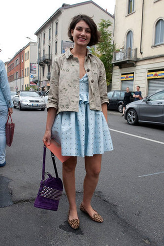 Exotic printed loafers only added to this dynamic jacket-and-dress combo. Source: IMAXtree
