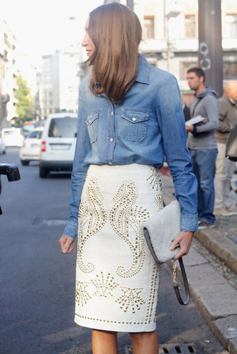 This studded seahorse pencil skirt gets its denim-cool offset via a laid-back button-up shirt.