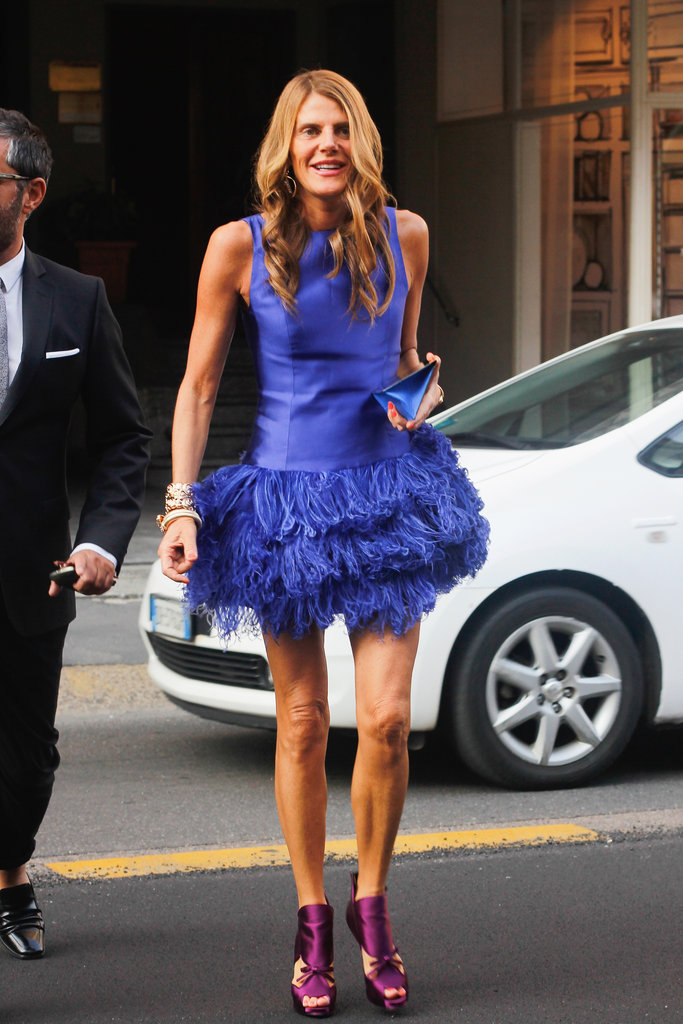 Anna Dello Russo doesn't hold back on the color front, or for that matter, the feathered front either.