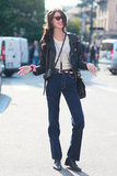 High-waisted denim flares and a biker jacket give this styler her '70s vibe. Source: Greg Kessler